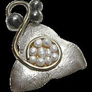 Artisan Organic Sterling Silver Fresh Water Pearl Pin