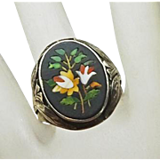 Antique Art Nouveau Sterling Silver Pietra Dura Mosiac Ring
