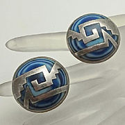 Large Mexican Blue Swirl Glass Sterling Silver Button Earrings Clip On Unique and Big