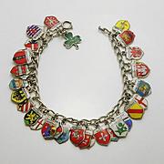 Loaded Vintage European  800 Silver Enamel Travel Shield Charm  Sterling Silver Bracelet 37 Charms !