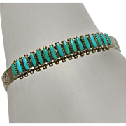 Sterling Silver Turquoise Zuni Indian Hand Made Needlepoint Cuff Bracelet