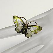 Vintage Opro Norway  Sterling Silver Guilloche Enamel Butterfly Brooch Pin