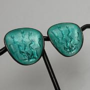 Vintage Sterling Norway Enamel Modernist Clip On Aqua Earrings  Einar Modahl