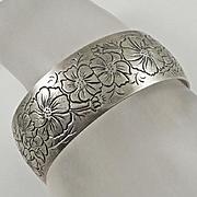 Vintage Kirk & Son Sterling Silver Cosmos Flower Cuff Bracelet