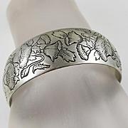 Wide Vintage Kirk & Son Sterling Silver Poppy Flower Cuff Bracelet