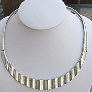 Mexican Sterling Silver Modernist Choker Collar Necklace