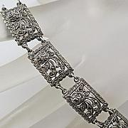 Vintage West German Germany Sterling Silver Marcasite Flower Bracelet Sterling