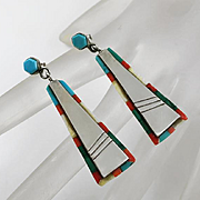 Long Colorful Turquoise Stone Native American Indian Earrings