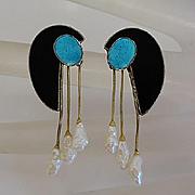 Vintage Modernist Sterling Silver Fresh Water Pearl Drop Earrings