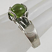 Artisan Modernist Caged Peridot Sterling Silver Ring