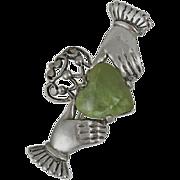 Vintage Irish Connemara Marble Sterling Silver Claddagh Pin