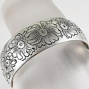 Vintage Kirk & Son Sterling Silver Daisy Flower Cuff Bracelet