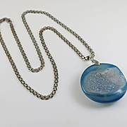 Large Blue Geode Sterling Silver Necklace