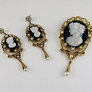 Antique Victorian 18K Gold Onyx Hard Stone Cultured Pearl Cameo Pin and Drop Earrings  Set