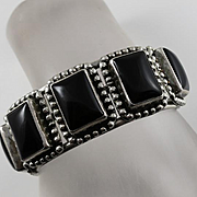 Chunk Bold Native American Indian Sterling Silver Black Stone Cuff Bracelet