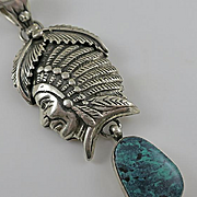 Large Native American Indian Sterling Silver Turquoise Drop Well Defined Indian Necklace Pendant