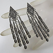 Long Sterling Silver Southwestern Feather Flower Drop Earrings 2 and 3/4 Inches! Masha