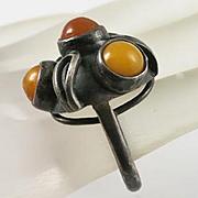 Vintage Butterscotch Amber Brutalist Modernist Ring Size 7 800 Silver