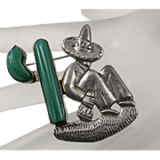 1940s Mexican Sterling Silver Man Taking a Siesta Green Onyx Cactus  Pin