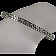 Vintage Danecraft Sterling Silver Bangle Bracelet  Geometric Pattern