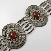 Vintage Wide Ornate Sterling Silver Carnelian Filigree Bracelet