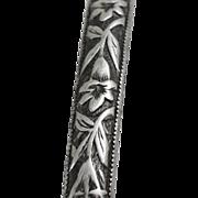 Vintage Solid Flower Bangle Bracelet Sterling Silver circa 1940's Floral Design