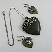 Irish Connemara Marble Sterling Silver Heart Shamrock Necklace Earring Set