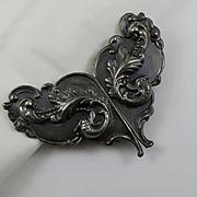 Antique Art Nouveau Metal Belt Buckle Dragons