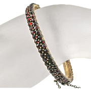 Antique Victorian Bohemian Rose Cut 2 Row Garnet Bangle Bracelet