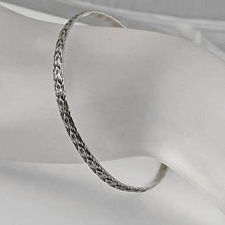 Vintage Signed MJ  Sterling Silver Floral Bangle Bracelet