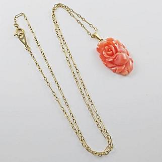 Vintage 14k Carved Coral Flower Pendant On Gold Filled Paper Clip Chain