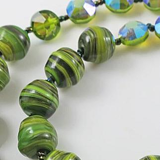 Vintage  Green Glass Aurora Borealis Crystal Necklace Earring Set 1960s