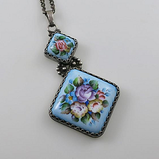 Sterling Silver Russian Floral Flower Enamel  Pendant and Necklace