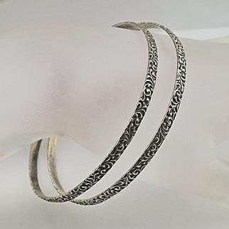 Art Nouveau Vintage Sterling Silver Fancy Scroll Work Bangle Bracelet