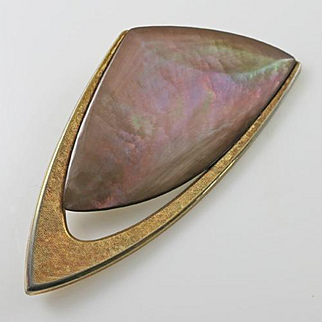 Large Vintage German Made Abalone Modernist Abstract Signed GES GESCH AH  Pin