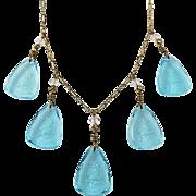 Vintage Art Deco Reverse Carved  Aqua Glass Floral Flower Necklace Paper Clip Chain