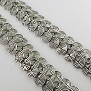 Vintage Modernist Coil Spiral Necklace Bracelet Set