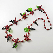 Vintage Italian Venetian Art Glass Red Birds Leave  Glass Necklace