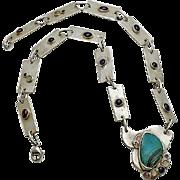 Artisan Abstract Modernist Sterling Silver Gemstone  Necklace Turquoise Moonstone Amethyst Garnet