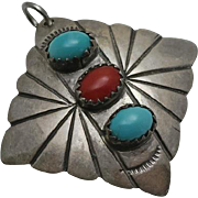 Vintage Native American Indian Turquoise Coral Sterling Silver Necklace Pendant TT