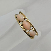 Vintage 14K Gold Angel Skin Coral  Ring Size 8