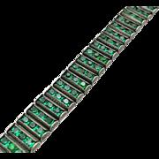 Vintage Art Deco Green Glass Rhinestone Sterling Silver  Bracelet  Channel Set