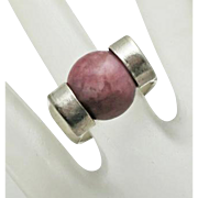 Sterling Silver Modernist Spinner Stone Ring Size 7 and 1/2 Silver Steed