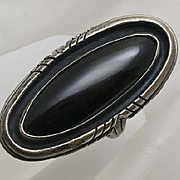 Long Face Native American Indian Sterling Silver Onyx Ring Size 7