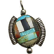 Vintage Sterling Silver Native American Indian Turquoise Stone Inlay Pendant or Large Charm