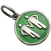 Vintage David Andersen Sterling Silver Modernist Green Enamel Guilloche Gemini Charm Early Mark
