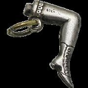 Vintage 1920s 1930s Sterling Silver Chorus Girl Risque Leg Garter Boot Charm