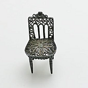 Antique Miniature Sterling Silver Filigree Dollhouse Doll Charm