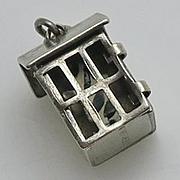 Vintage Early  Sterling Silver Prisoner Inside Jail Cell Enamel Moving Charm