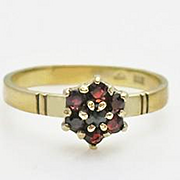 Victorian Antique Pinky Child 10K Gold Garnet Flower Ring Size 4 and 3/4